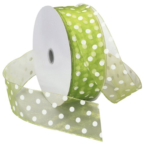 Morex Ribbon Wired Sheer Dots Fabric Ribbon, 2-Inch by 50-Yard Spool, Lime/White Dots - Lime Dot Fabric