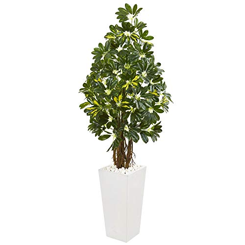 Nearly Natural 9332 5-Ft. Schefflera Artificial White Tower Planter Silk Trees ()