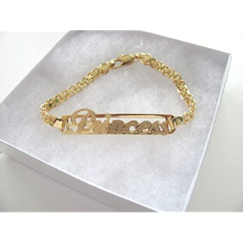 "14k Gold Overlay Bracelet ID Style with 2""center Plate with Word Princess"