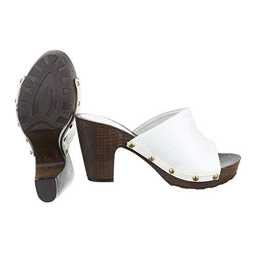 Schuhtraum Damen Sandalen Pantoletten Clogs Plateau High Heels Sandaletten ST621 Weiß
