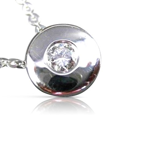 Milano Jewelers .12CT DIAMOND 14KT WHITE GOLD SOLITAIRE BEZEL FLOATING PENDANT #2961