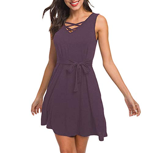 Women Sleeveless V Neck Lace Up Criss Cross Swing T-Shirt Dresses with Pockets Purple