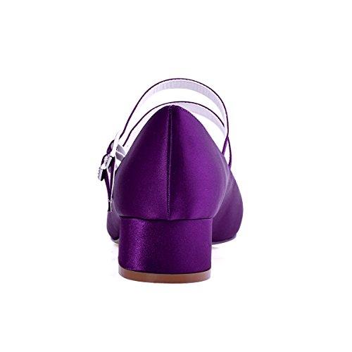 ElegantPark Mujeres Cerrado Toe Chunky Talón Mary Jane Bombas Satén Zapatos de vestir de noche Morado