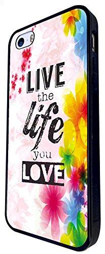 471 - Floral Shabby Chic Live The Life You Love Design iphone SE - 2016 Coque Fashion Trend Case Coque Protection Cover plastique et métal - Noir