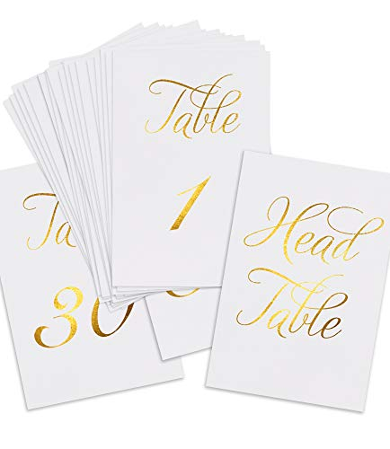 """ZICOTO Classy Gold Wedding Table Numbers in Double Sided Gold Foil Lettering with Head Table Card - 4"""" x 6"""" and Numbered 1-30 - Perfect for Weddings and Events from ZICOTO"""