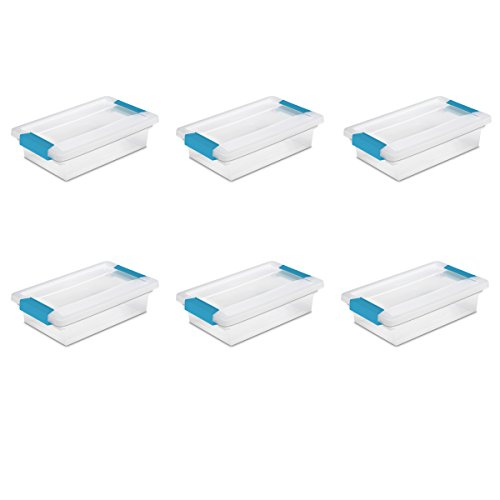 (Sterilite 19618606 Small Clip Box, Clear Lid & Base w/Colored Latches, 6-Pack)