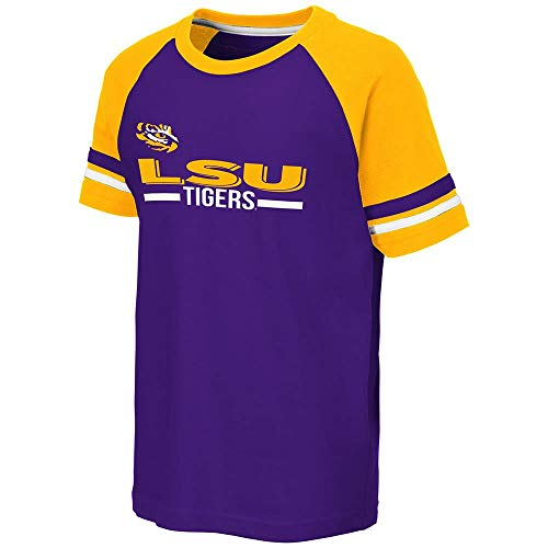 (Colosseum Youth LSU Louisiana State Tigers Ottawa Raglan Tee Shirt - L )