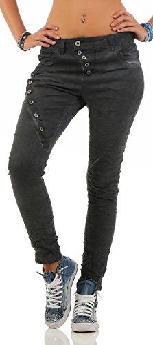 Fonc Boyfriends Pantalon Jeans Bleu Denim L18124 Button Stretch Front Baggy Look 1 Lexxury Femme Jeans Dtruit OqYOzd