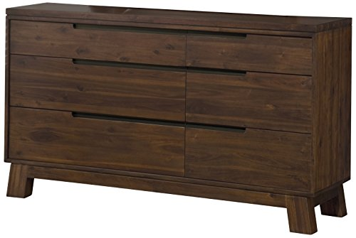 Modus Furniture Portland Solid Wood Dresser, Walnut - Constructed from Acacia solid wood, an exotic lumber known for its bold contrasting wood grain and natural protective qualities Drawer boxes feature English dovetail joinery; felt-lined top drawers Full extension, ball bearing drawer slides for smooth, efficient operation and ample weight capacity - dressers-bedroom-furniture, bedroom-furniture, bedroom - 41VJfRd85EL -