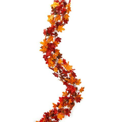 Bulk Buy: Darice DIY Crafts Garland Maple Leaf Chain Red and Orange 6 feet (12-Pack) DC-6687 by Darice