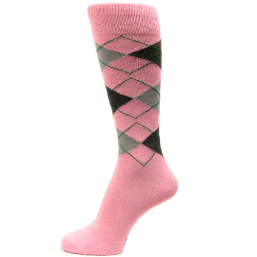 Spotlight Hosiery Men's Groomsmen Wedding Argyle Dress Socks-Light Pink / Charcoal Grey / Light Gray