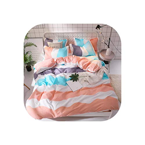 Comforter Sets Rainbow Bed Linen Set Bedding Set for Girls Single Twin Size Quilt Cover Bedding Sheet Queen King Bed Sets,157,Queen 4Pcs,Flat Bed ()