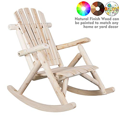 (kdgarden Cedar/Fir Log Adirondack Rocking Chair Outdoor Wooden Porch Single Rocker for Garden Balcony Patio Backyard, 250 LB Weight Capacity, Natural Finish )