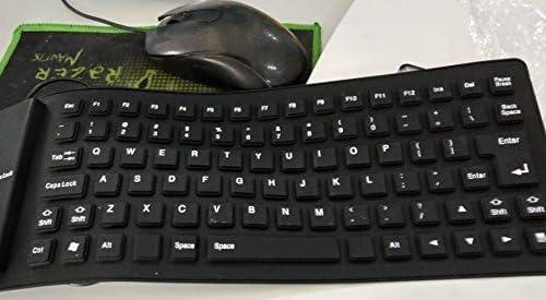 SSEDEW Black 85 Keys Silicone Keyboard USB Wired Waterproof Flexible Folding Key Board for PC Desktop Laptop