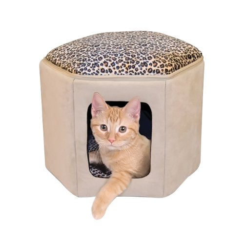 K & H Tan Leopard Print Indoor Micro Suede Kitty Sleep house Cat Pet Bed by K&H Manufacturing