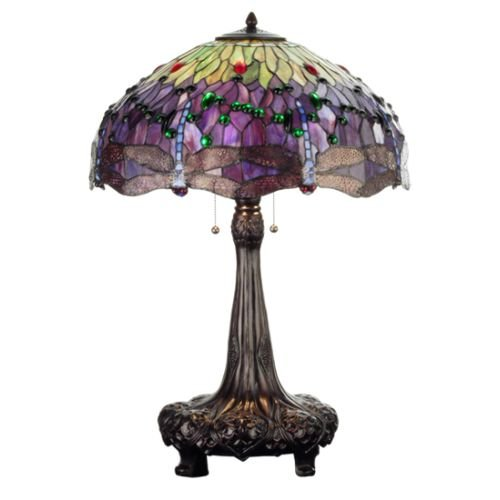 "Meyda Tiffany 31112 Hanginghead Dragonfly Collection 3-Light Table Lamp, Mahogany Bronze Finish with Dragonfly Stained Glass Shade, 22"" x 22"" x 31"" from Meyda Tiffany"