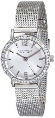 Bulova Women's 43L170 Caravelle New York Crystal-Accented Stainless Steel Watch with Mesh Bracelet