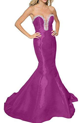 Strapless Grape Wedding Party Mermaid Evening Avril Satin Sweep Dress Dress Glamorous qxgt7