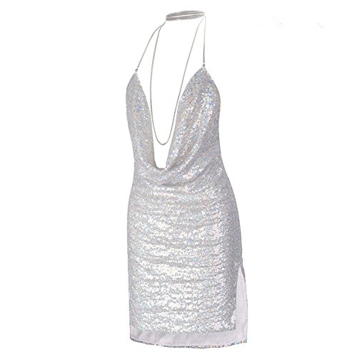 Sexy Women Sequin Sparkle Glitter Spaghetti Strap Mini Dress (Large, (Chain Dress)