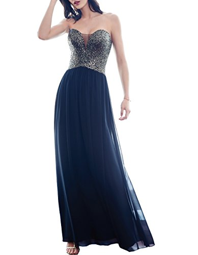 Party Blue Navy Sweetheart Beauty Evening Sequins for L099 Bridal Women Long Dresses Prom Gown apOZwIq