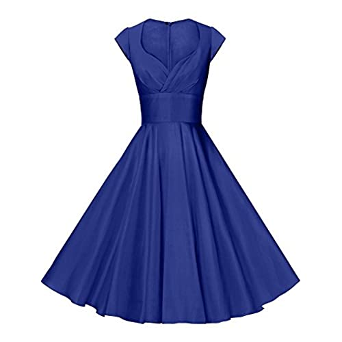 GownTown Womens Dresses Party Dresses 1950s Vintage Dresses Swing Stretchy Dresses, Royal Blue, Medium