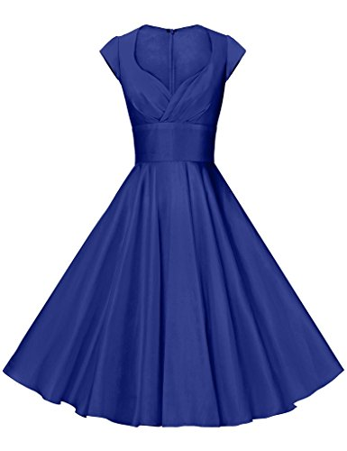 GownTown Womens Dresses Party Dresses 1950s Vintage Dresses Swing Stretchy Dresses, Royal Blue, Large ()