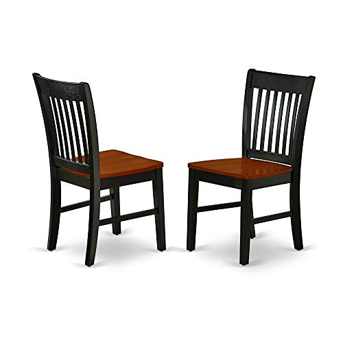 East West Furniture NFC-BCH-W Norfolk Formal Dining Chair with Plain Wood Seat in Black and Cherry Finish (Set of 2), Black & - Room Dining Sets Cherry