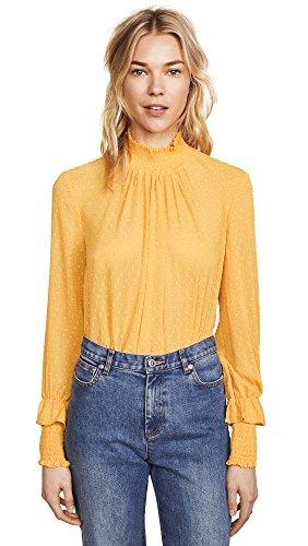 (English Factory Women's Swiss Dot Blouse, Marigold, Yellow, Large)