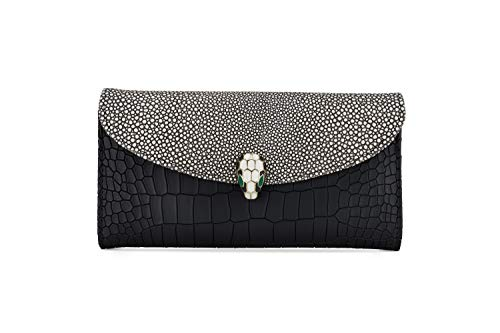 Handcrafted Leather Wallet for Women - Crocodile Print Credit Card Wallet - 12 Card Slots, Large -