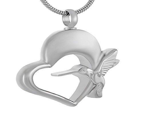 (Laceta's Keepsakes Hummingbird Aand Heart Cremation Urn Jewelry Necklace Pendant Memorial Ashes (Silver Tone))