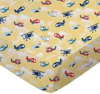 product image for SheetWorld 100% Cotton Percale Crib Sheet Set 28 x 52, Airplanes Yellow, Inlcudes 1 Fitted, 1 Flat, 1 Toddler Pillow Case, Made in USA