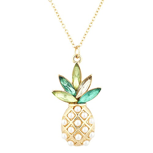 (Lux Accessories Gold Tone Pearl Multi Green Stone Pineapple Pendant Necklace)