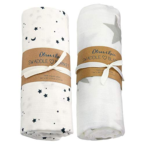 Oliver & Rain - Organic Cotton Muslin Grey and Black & White Star Print Swaddle Sampler, NB, 2-Pack ()