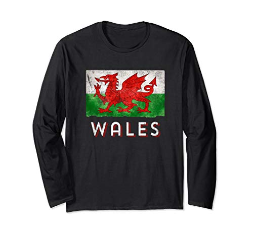 CYMRU Rugby Welsh Shirt with the Red & Green Flag of Wales Long Sleeve T-Shirt