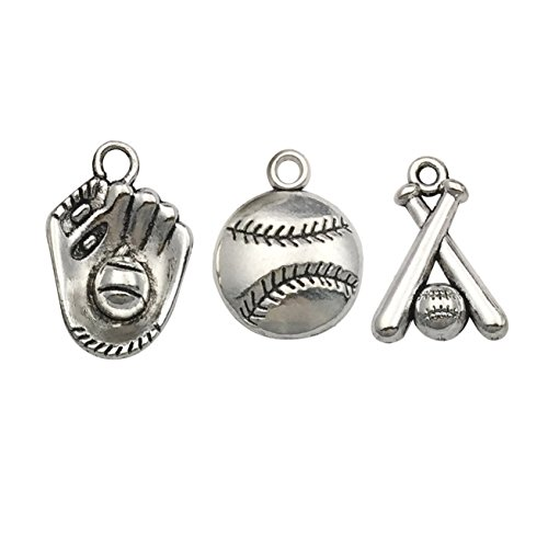 Sport Charm Baseball - Ball Sports Charms-60pcs Alloy Ball Games Baseball Sports Charms for Crafting DIY Necklace Earrings Bracelet Jewelry Making Accessaries m130 (Baseball Charms)