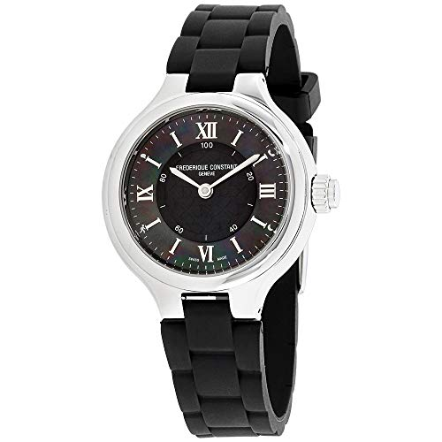 Frederique Constant HSW Black Dial Silicone Strap Ladies Watch FC281GH3ER6