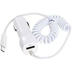 USB Type C Car Charger, LG V20 Car Charger, Vehicle Ultra Rapid Car Charger USB C Cable for LG G5, Galaxy S8/ S8 Plus, OnePlus 3, Nexus 6P/ 5X, Huawei P9 Plus, ChromeBook Pixel and More(White )
