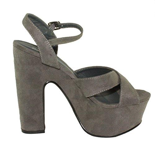 Bonnibel Womens Yws-111 Sandalo Con Tacco Alto E Grosso In Pelle Scamosciata Con Cinturino Alla Caviglia