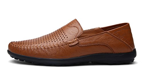 Tda Mens Mode Respirant Doux Perforé En Cuir Manuel Conduite Mocassins Bateau Chaussures Marron