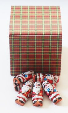 Scott's Cakes Foil Wrapped Solid Milk Chocolate Peanut Butter Filled Santas in a 1 Pound Square Plaid (Butter 1 Lb Santa)