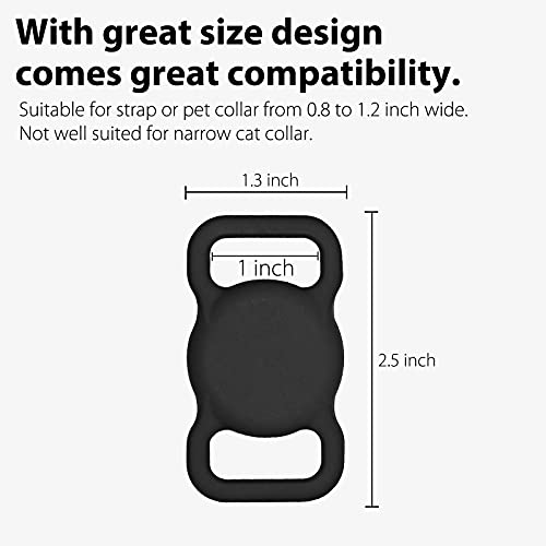 3-Pack Protective Case Compatible with Apple AirTag Dog Collar Holder, Anti-Lost Silicone AirTag Pet Collar Cover with Screen Protectors - Black & Blue & White
