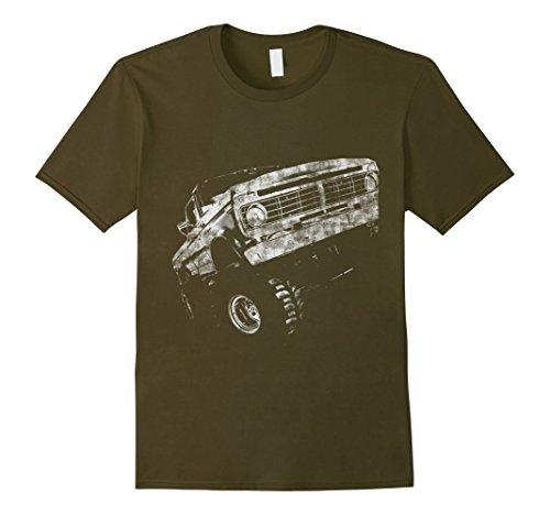 Mens Lifted 4x4 Truck Redneck Truck Distressed Shirt XL Olive ()