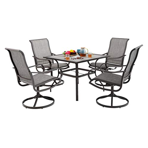 MF Patio Dining Set 5 Pieces 4 Swivel Chairs, 1 Square 37″x 37″Table Furniture Set for Outdoor Garden Lawn Pool Umbrella Metal Frame Table Easy to Care Weather Resistant Grey