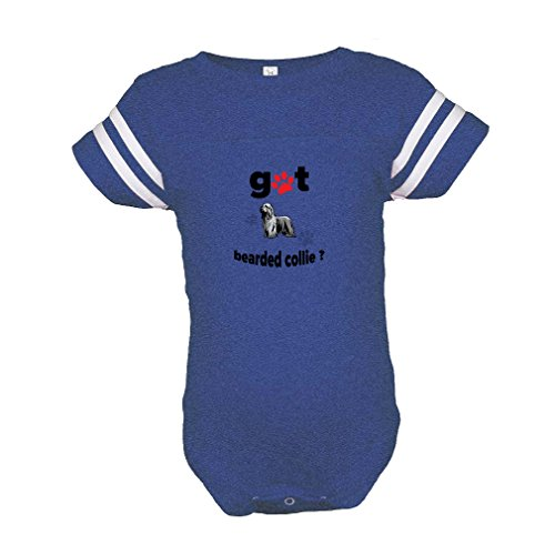 Cute Rascals Bearded Collie Dog Got Baby Kid Football Fine Jersey Bodysuit Royal Blue 12 Months