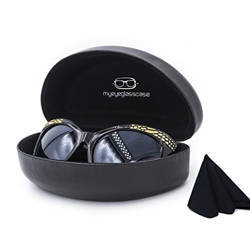 Hard Eyeglass & Sunglasses Case w/ Microfiber Cleaning Cloth | Oversized To Protect Glasses w/Large To Extra Large Frames | Men and Women | Clamshell | AS179 Black |