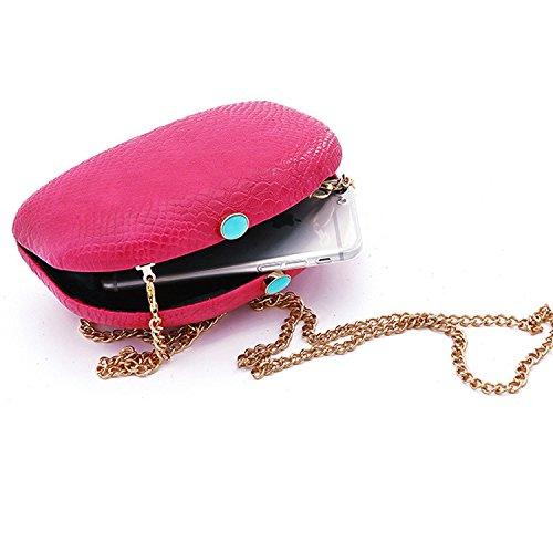 Flada chica y las mujeres shell forma PU cuero shouder bolsa de noche bolso de embrague Rosy