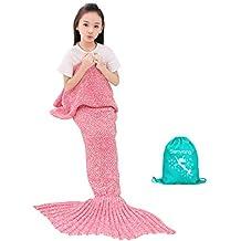 SENYANG Mermaid Tail Blanket, Mermaid Blanket for Kids Hand Crochet Snuggle Kids Mermaid Blanket for Girls, Sweet Girls Gifts for Girls Toys (Kid Thick Pink)