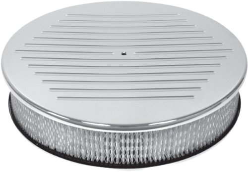 Chevy/Ford/Mopar 14″ Round Chrome Aluminum Air Cleaner – Ball Milled