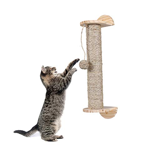 liltemon Cat Scratching Post with Hanging Ball Toy, Wood Sisal Rope Cat Scratcher Durable Scratch Pole Wall Mounted Shelves Protect Furniture Healthy Claws