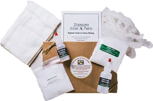 Standing Stone Farms Basic Beginner Cheese Making Kit - Mozzarella, Burrata, Burricota, Chevre, Ricotta, Mascarpone & Butter! (Stones Milk Glass)